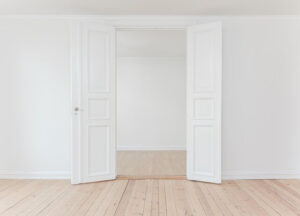 double-opened-white-door